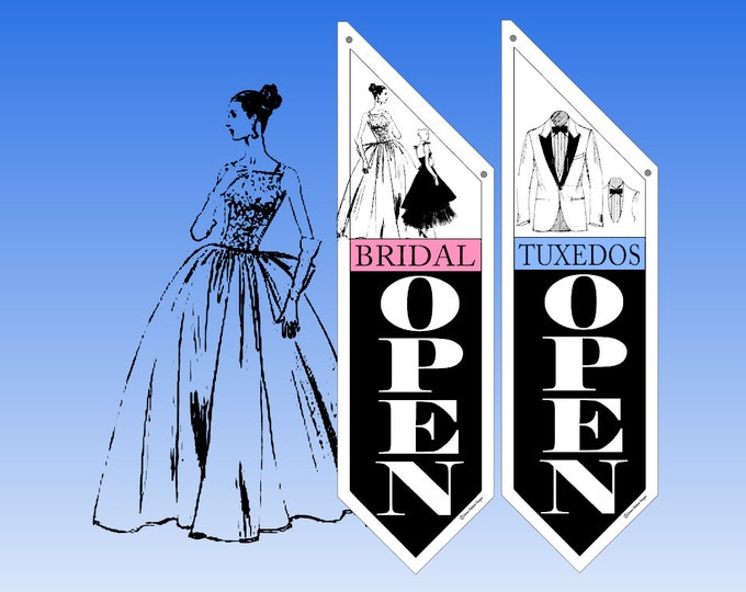 RETAIL Bridal & Tuxedo  flags  * Several designs to choose from * double sided * heavy weight canvas * handmade pole and bracket included