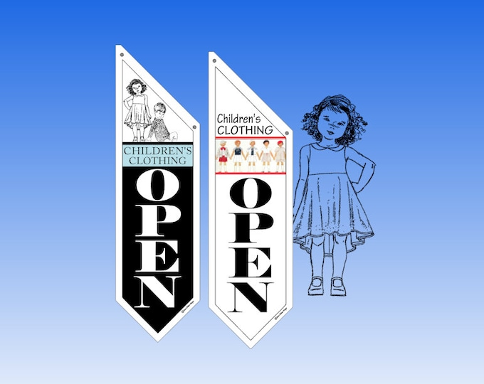 RETAIL Children's CLOTHING flags  * Two designs to choose from * double sided * heavy weight canvas * handmade pole & bracket included