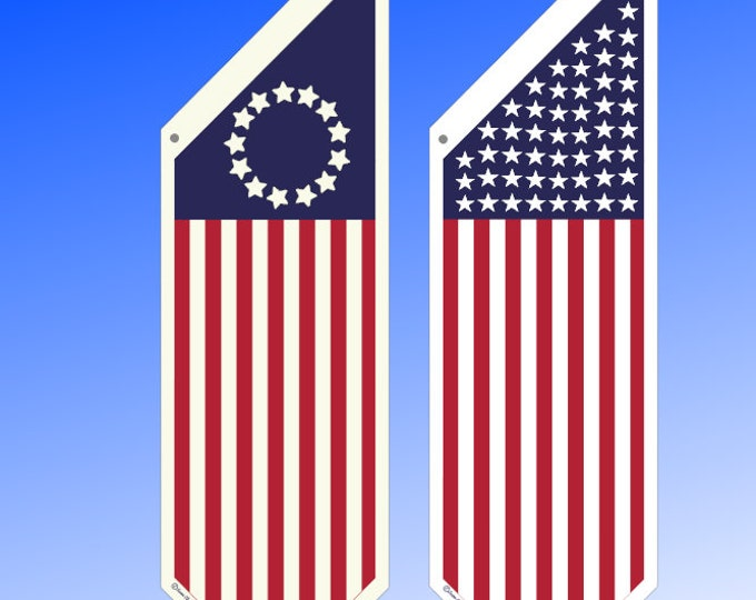 AMERICAN flag banner * Traditional 50 stars or Betsy Ross versions.