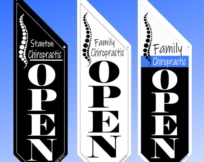CHIROPRACTOR OPEN Flag  * Black, White or Split Canvas * double sided outdoor canvas * pole & bracket included