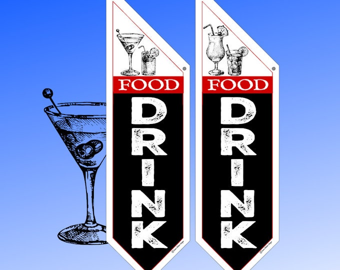 Restaurant FOOD DRINK flags  * Several designs * double sided * heavy weight canvas * pole & bracket included