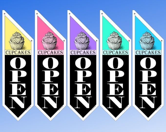 CUPCAKE store OPEN flags * sweet colors * double sided * heavy canvas * handmade pole & bracket included