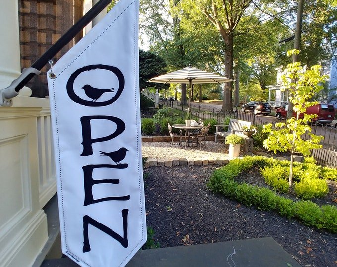 DESIGNER OPEN FLAG * Two tweety birds perched on Driftwood Font letters * double sided * heavy weight canvas * handmade pole & bracket