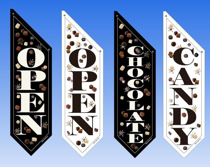 CHOCOLATE store OPEN flags * Chocolate Candies Galore * double sided * heavy canvas * handmade pole & bracket included