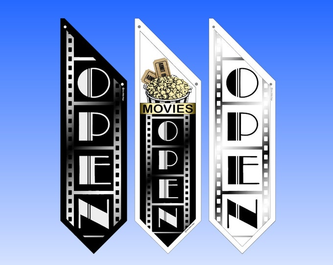 MOVIE Theatre OPEN flags  * Several designs to choose from * double sided * heavy weight canvas * handmade pole & bracket included