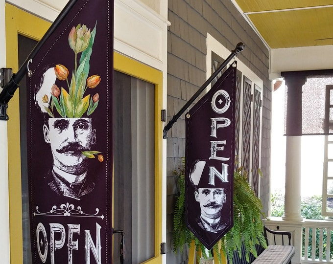 OPEN Head Man OPEN flag * double sided * heavy weight canvas * handmade pole & bracket *  printed on both sides * Three design choices