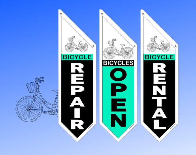 RETAIL Bicycle OPEN flags  * great retro designs * double sided * heavy weight canvas * handmade pole & bracket included * Repair * Rental