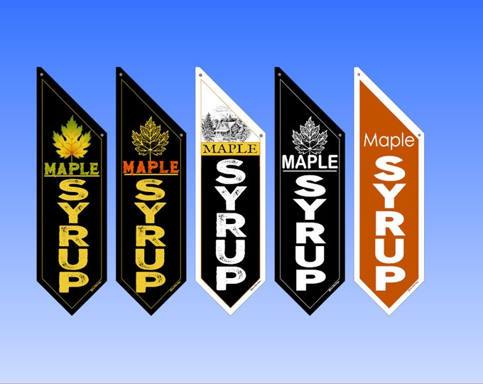 FARM MAPLE SYRUP flags  * Several designs * double sided * heavy weight canvas * pole & bracket included *