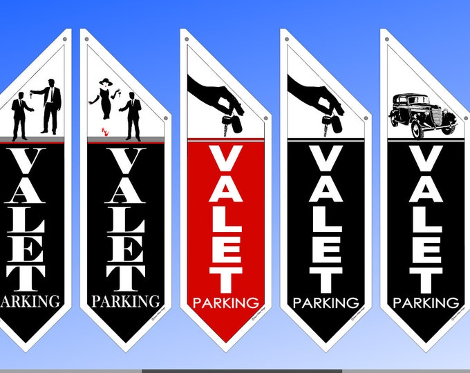 Elegant VALET PARKING flags  * several designs * double sided * heavy weight canvas * pole & bracket included *