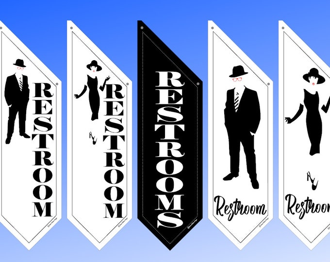 Elegant WAY FINDING flags  * several designs * double sided * heavy weight canvas * pole & bracket included * Restrooms * Ladies-Men's Room