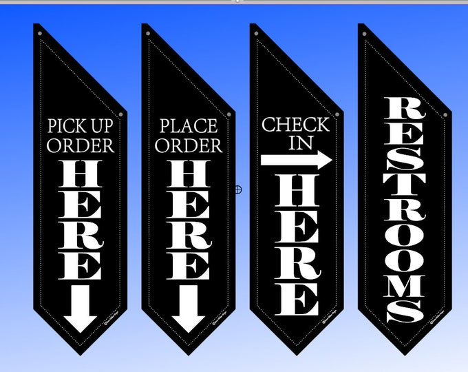 Elegant WAY FINDING flags  * several designs * double sided * heavy weight canvas * pole & bracket included
