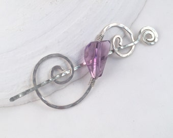 Handcrafted Shawl Pin, Silver Amethyst Sweater Pin, February Birthstone, Gift for Her, Hair Accessory, Silver Swirl Pin