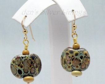 Raku Earrings, Handcrafted Raku Lampwork Glass Beads, Jasper, and 14Kt Gold Filled Dangle Earrings