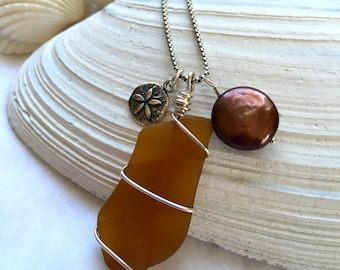 Authentic Sea Glass Charm Necklace, Silver Wire Wrapped Brown Sea Glass, Coin Pearl,  Sterling Silver Dollar Charm on Sterling Box Chain