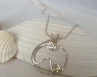 Wedding Ring Holder Necklace, Eyeglass Holder, Mountain Jewelry, Gift for Hiker, Beach Lover Gift, Ocean Wave Jewelry, Nature Lover Gift