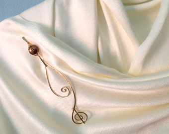 Gold Pearl Shawl Pin, Scarf Pin, Sweater Pin, Brooch, Handcrafted Gold Pin, Coin Pearl Pin, Gold Swirl Pin, Gift for Her, Two Piece Pin