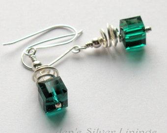Christmas Earrings, Green Earrings, Red Earrings, Holiday Jewelry, Crystal Earrings, Swarovski Crystal Cube Earrings, Gift for Her