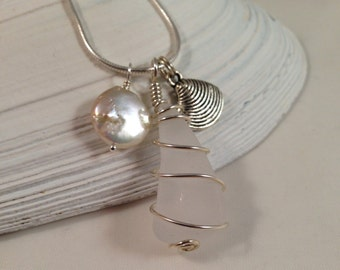Authentic Sea Glass Charm Necklace, Sterling Silver Wire Wrapped White Sea Glass, Coin Pearl,  Seashell Charm