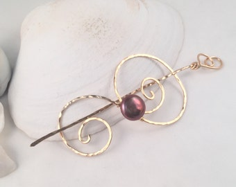 Shawl Pin, 14K Gold-Filled with Brown Coin Pearl Accent, Scarf Pin, Sweater Pin, Hair Clip, Wearable Art, Functional Jewelry