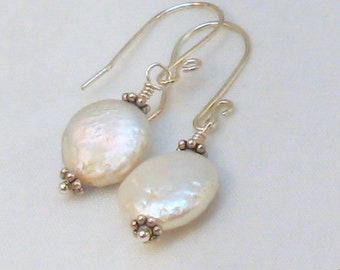 White Coin Pearl Earrings, Pearl Drop Earrings, Bridal Earrings, Wedding Jewelry, Silver Pearl Earrings, Gift for Her, June Birthstone