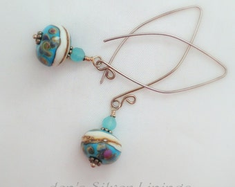 Handcrafted Earrings, Lampwork Glass, Jade, and Sterling Silver on Handcrafted Artisan Earwires, Blue White Brown Rose