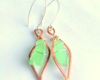 Sea Glass Leaf Dangle Earrings, Handcrafted Copper, Sterling Silver , Green Beach Glass