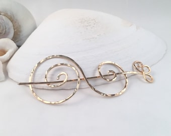 Gold Swirl Shawl Pin, Scarf Pin, Sweater Pin, Brooch, Hair Pin, Handcrafted Hammered Gold Filled Functional Jewelry, Wearable Art