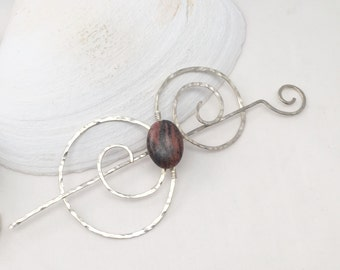 Shawl Pin, Handcrafted Silver Pin, Rhodonite Silver Swirl Pin, Scarf Pin, Hair Pin, Functional Jewelry, Wearable Art Christmas Gift