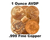 World of Dragons Series 1 oz .999 Pure Copper Round Challenge Coins