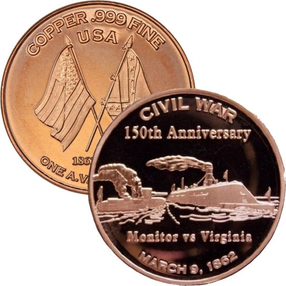"3 Rounds Civil War /""The General/"" 1 oz .999 Copper Round Civil War Collection"