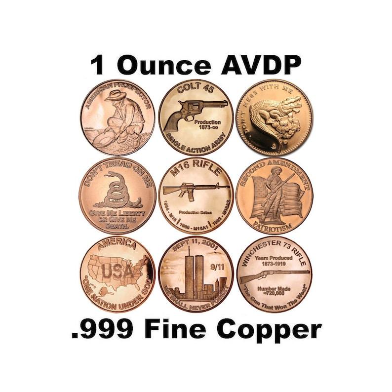 1 oz  999 Pure Copper BU Round Challenge Coins