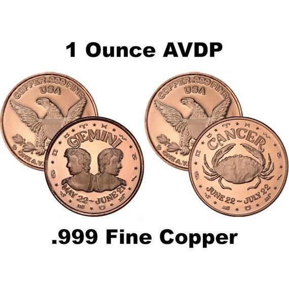 CAPRICORN   sign of the ZODIAC  1 oz Copper Round Coin