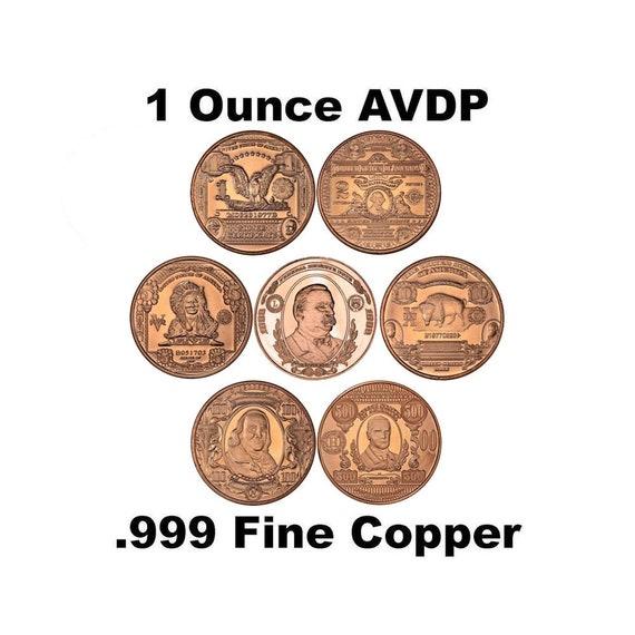 Copper Round  Coin $10  BISON  Bank Note 1 oz