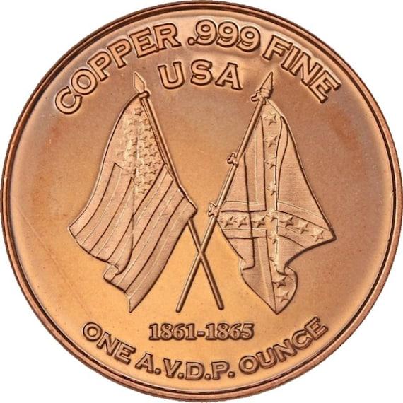1 OZ COPPER ROUND CIVIL WAR 1862 MONITOR VS VIRGINIA MARCH 9