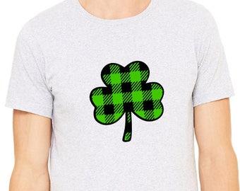 Lucky Shirt - St Patrick's Day -Shamrock Buffalo Plaid