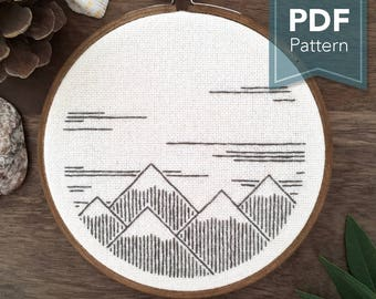 Snowy Mountains - Modern Counted Embroidery Pattern (PDF Digital Download)