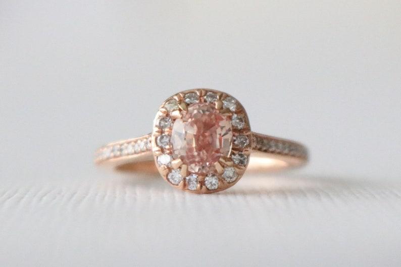Cushion Cut Peach Pink Sapphire Diamond Halo Engagement Ring Handmade Pink Gemstone Wedding Ring In 14k Rose Gold
