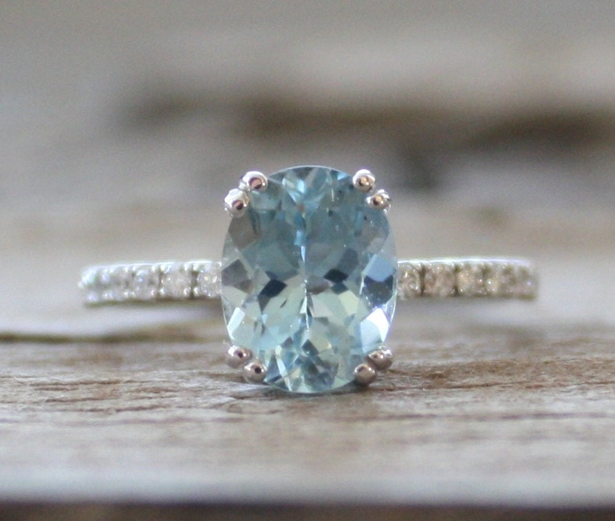 1.70 Cts. Oval Aquamarine Diamond Ring In 14K White Gold