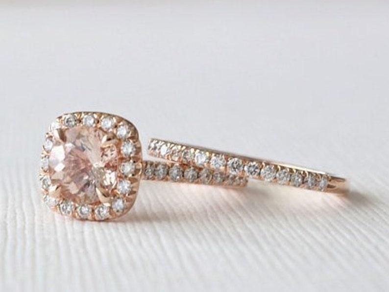 Set Morganite Engagement Rings In 14k Rose Gold Halo Diamond Etsy