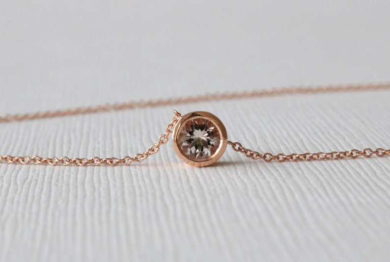 ffee2e2549028 Round Morganite Bezel Solitaire Necklace in 14K Rose Gold