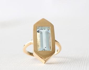 2.80 Cts. Emerald Cut Aquamarine Hexagonal Bezel Statement Ring, Modern Geometric Light Blue Gemstone Statement Ring in 14K Yellow Gold