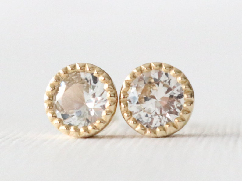 5b66e4bdc 14K Yellow Gold Milgrained White Sapphire Bezel Stud Earrings | Etsy