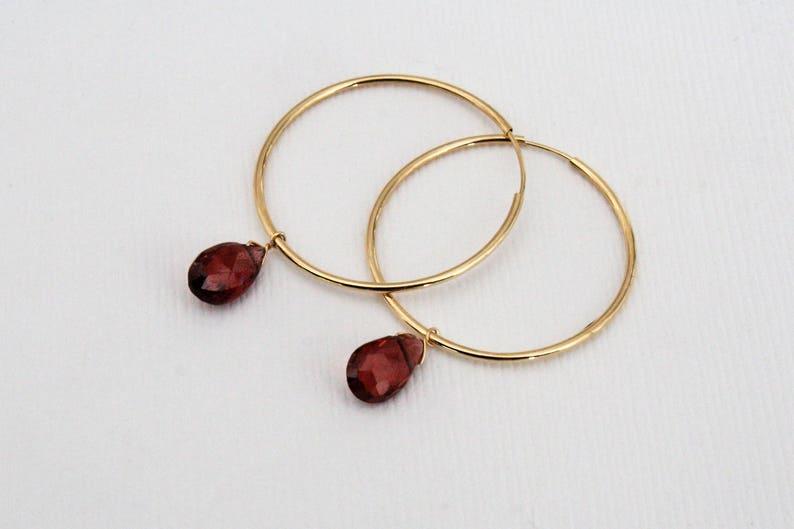 January Birthstone Earrings in 14K Gold Garnet Dangle Hoop Earrings Garnet Jewelry Gold Hoops