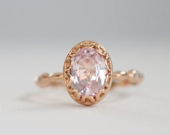 Oval Light Pink Sapphire Scalloped Prong Ring, Peach Sapphire Milgrained Diamond Engagement Ring, Oval Sapphire Ring in 14K Rose Gold