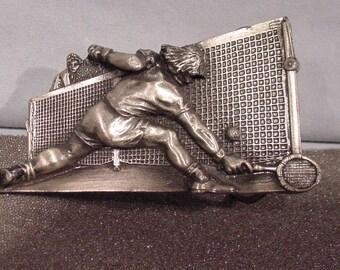 1980 Bergamot Brass Works Souvenir Belt Buckle Tennis Player at the Net