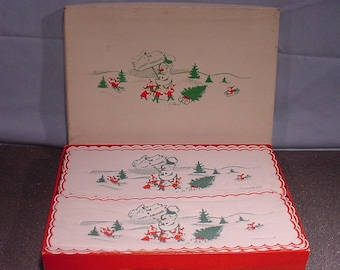 Vintage Paper Wrap-arounds For Glasses Snowman Children Pictures Made in England Original Box