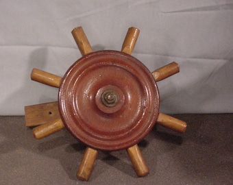 Vintage Boat Ship's Wheel Wooden Nautical Decor Boaters Ahoy!