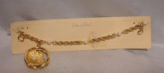 Incredible KRAMER Bracelet Gold Tone with Real Cul