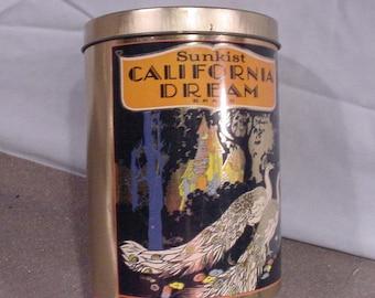 Vintage Tin SUNKIST CALIFORNIA DREAM Gorgeous Peacocks Bradford Bros Orange County Ca