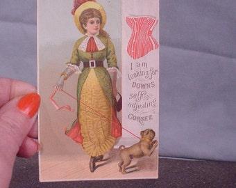 Charming Antique Trade Card Postcard Advertising Downs Self-Adjusting Corset Undergarment